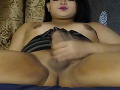 Horny Shemale Jerking Her Huge Cock with Huge Excitement on Bed