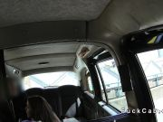 Redhead beauty fucks in British cab