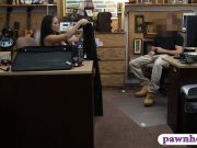 Brunette babe fucked by pawnshop owner in the office