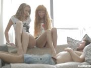 Small titted teens sharing a lucky guy