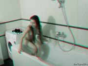 Slim teen posing in the bathroom and studio - 3D backstage