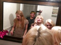 Three college girls share two guys in hot orgy