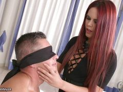 Raunchy redhead Gala Brown riding reverse cowgirl