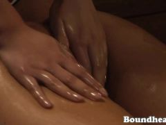 Three beautiful slave babes massaging and oiling a beautiful