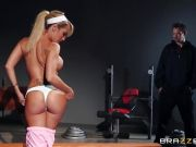 Peeping dude fucks Capri Cavanni in the gym
