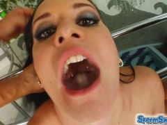 Hungry brunettes have cum snack after ass fuck