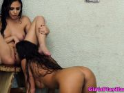 Lesbian couple pussylicking outdoors