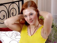 Redheaded Kitten Has Fun With A Dude With Large Rod