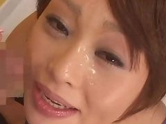 Naughty Yoshihara Myina Takes Lots of Cum on Her Face after Blowjob