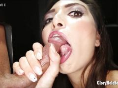Latina babe sucks dick