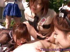 Awesome asian group sex fun with costume teens