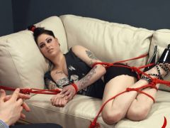 Ropes and vibrators in her deep asshole fucked by a pig