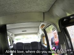 Tanned busty Brit deep throats in fake taxi