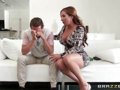 Naughty mom Richelle Ryan fucks her sons pal in the kitchen