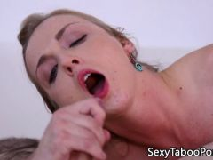 Smalltitted babe riding cock and tasting jizz