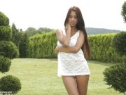 Christy Charming fingering in the backyard