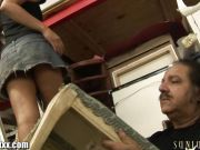Ron Jeremy checks under her skirt for panties