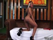 Ebony Tranny Masturbating Herself on Couch