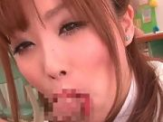 Naughty asian schoolgirl gives a blowjob at school