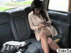 Hot ebony with glasses boned in the backseat of the cab