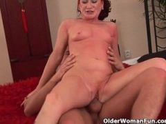 Red hot grandma gets her small tits covered in cum