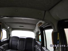 Blonde flashed tits and cunt in fake taxi