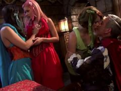 Foursome mouth action with Casey Calvert and pals
