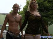 Busty latina tranny in fishnet stockings plowed