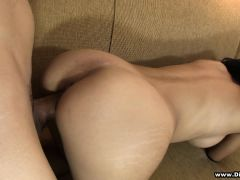 Striking brunette with a magnificent booty has a passion for hard meat