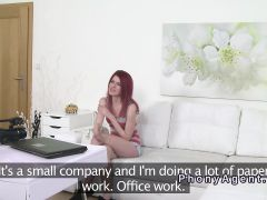 Small tits redhead banged in casting