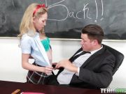 Sexy blonde teen Angel Smalls gets fucked by her teacher