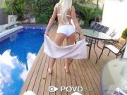 Hot Babe With Platinum Hair Blows And Fucks By The Pool