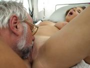 Pretty girl getting fucked by an old man