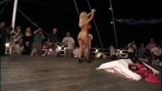 Naked blonde dancing