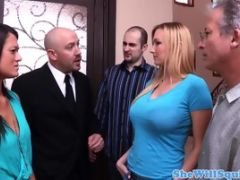 Busty blonde squirter pussyfucked by realtor takes cum in mou