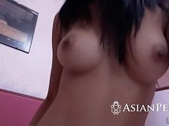 Amateur Asian Lady Takes Big Cock of Her Man in Tight Cunt