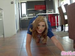 Givemepink hottie in costume shows off her curvy ass