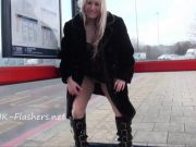 Public toying and blonde amateur babes outdoor dildo