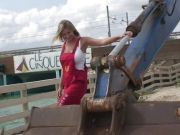 Hot babe and heavy machinery