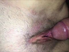 Shaved pink vagina shagged and jizzed