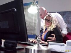 Blonde Julie Cash gets fucked as she works