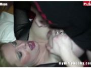 Amateur with big tits gangbanged