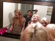 Three college girls share two guys for a group fuck