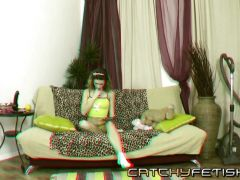 Masturbation in 3D with brunette toy lover