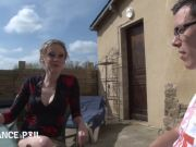 Slim French Milf Angie Fucked In Their Terrace