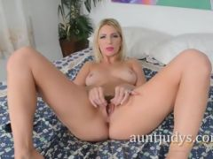 Ashley Fires Strips In Bed And Masturbates Her Pussy