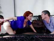 Veronica Avluv covered in cum as her husband watches