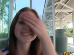 Redheaded amateur teen babe pov rides cock doggystyle in hd