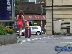 Czech Hot redhead fucks guy hard in car park for cash