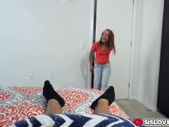 Holly Hendrix jerk and suck her step bro